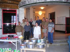 Brits, Americans and one Iraqi, late summer 2004, enjoying some local Iraqi cuisine.
